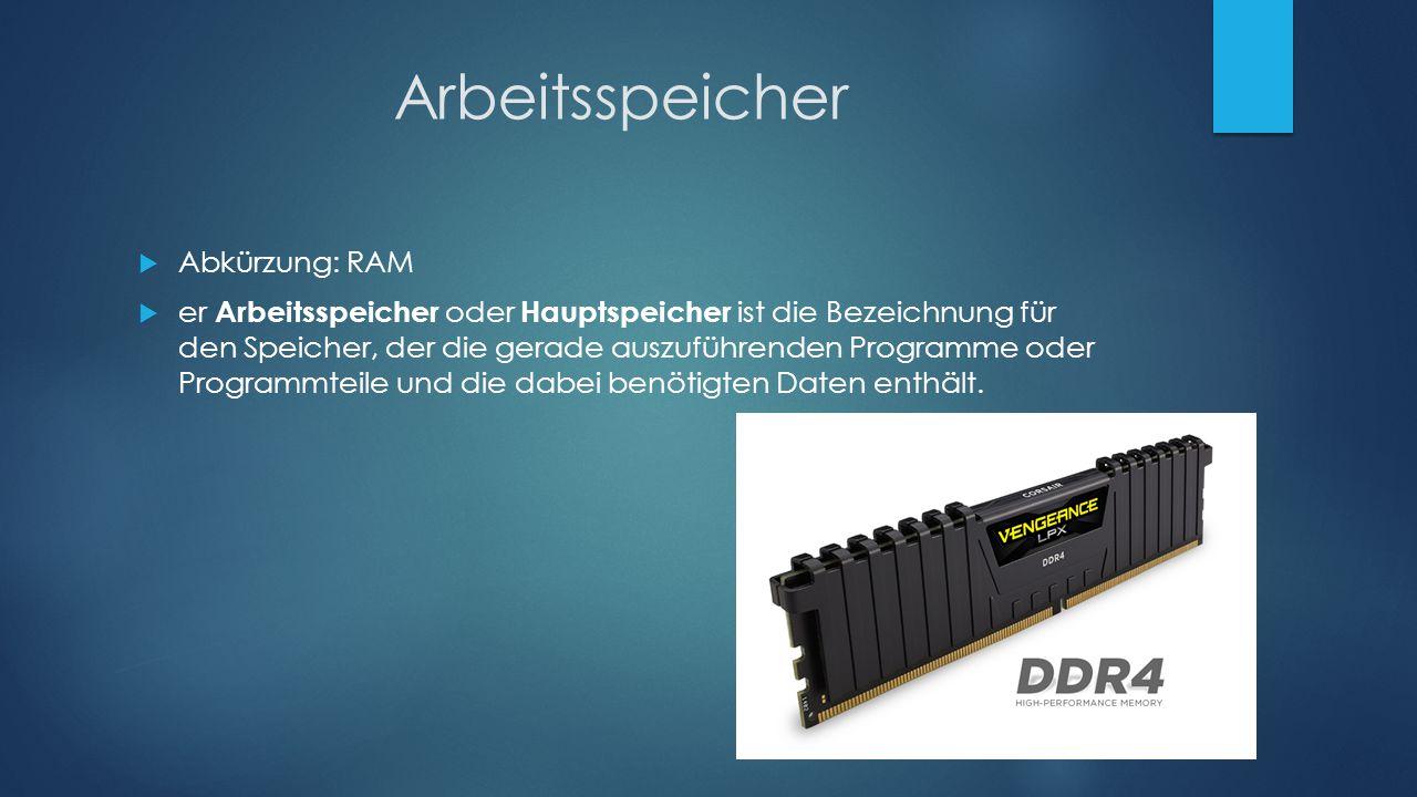 Arbeitsspeicher Abkürzung: RAM