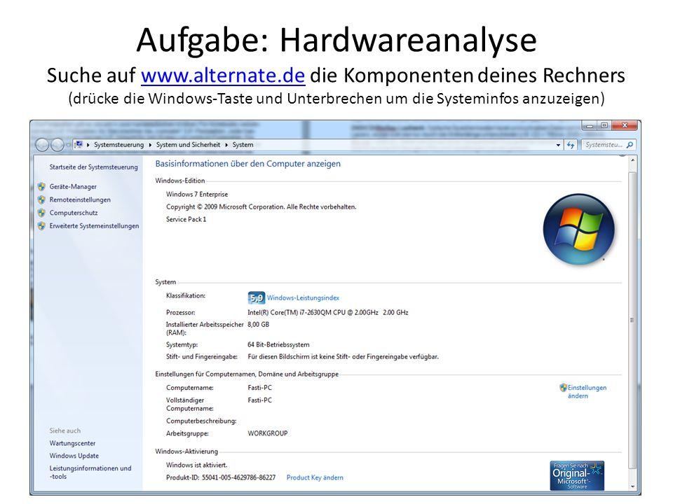 Aufgabe: Hardwareanalyse Suche auf www. alternate
