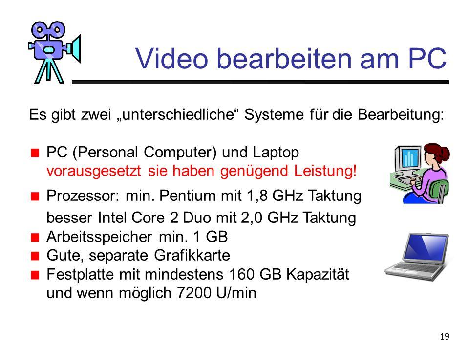 """Video bearbeiten am PC Es gibt zwei """"unterschiedliche Systeme für die Bearbeitung: PC (Personal Computer) und Laptop."""