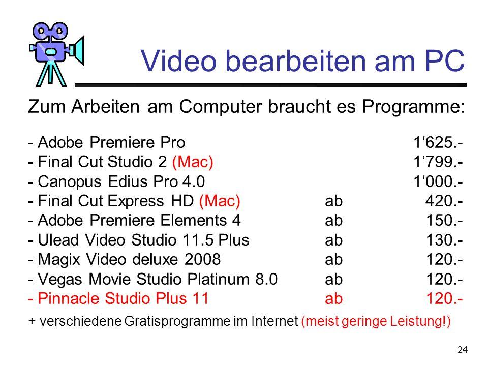Video bearbeiten am PC Zum Arbeiten am Computer braucht es Programme: