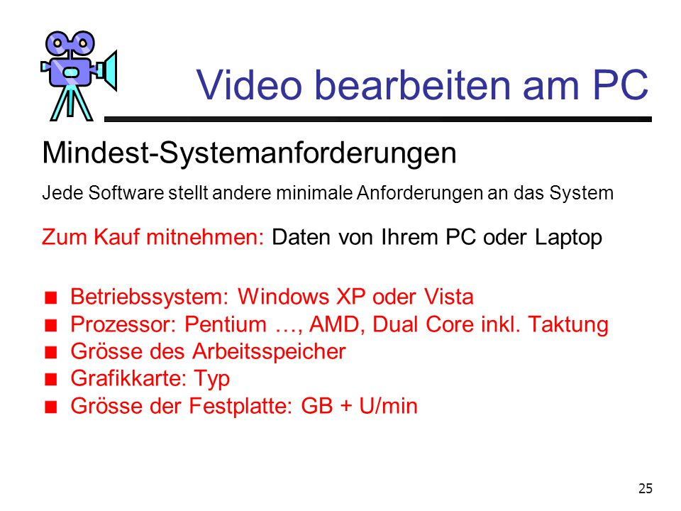 Video bearbeiten am PC Mindest-Systemanforderungen