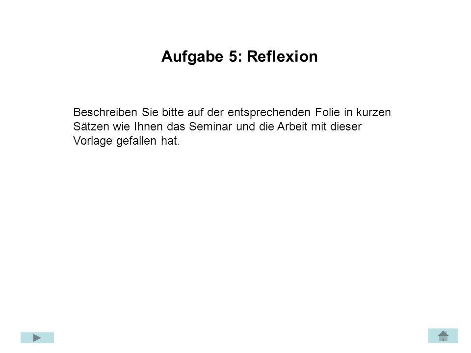 Aufgabe 5: Reflexion