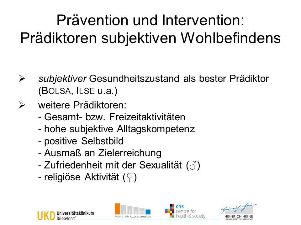 Prävention und Intervention: Prädiktoren subjektiven Wohlbefindens