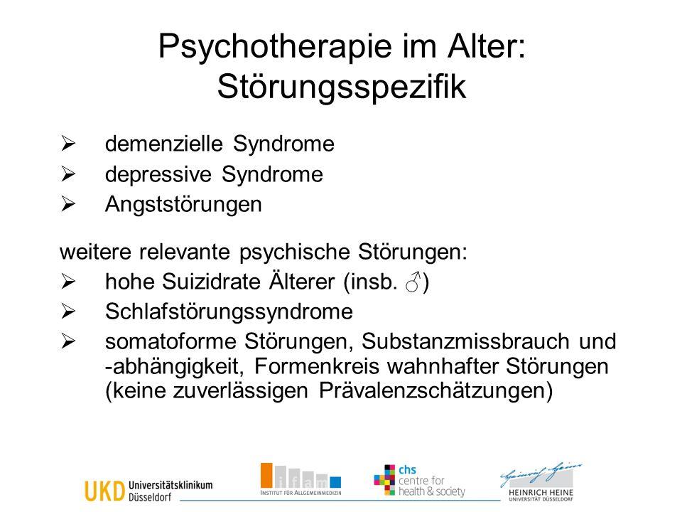 Psychotherapie im Alter: Störungsspezifik