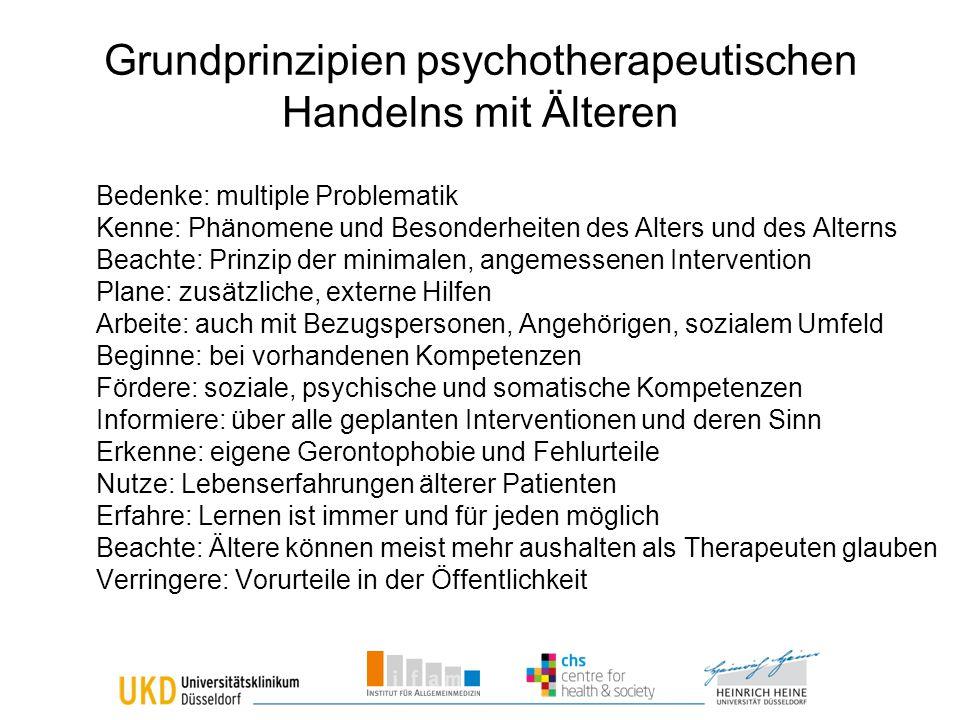 Grundprinzipien psychotherapeutischen Handelns mit Älteren
