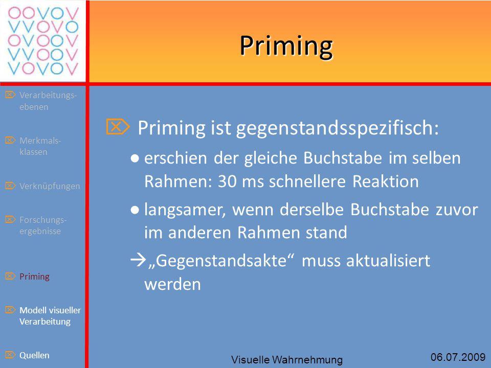 Priming Priming ist gegenstandsspezifisch:
