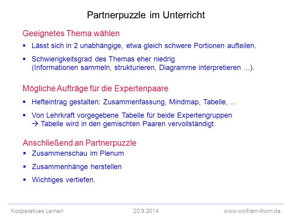 Partnerpuzzle im Unterricht