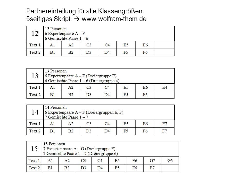 Partnereinteilung für alle Klassengrößen 5seitiges Skript  www