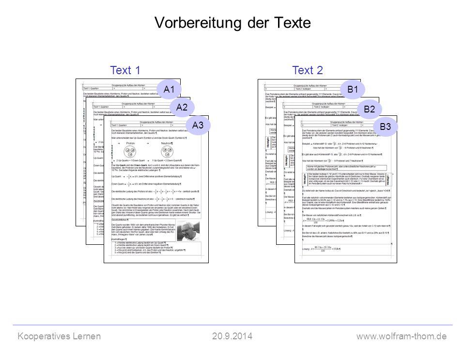 Vorbereitung der Texte