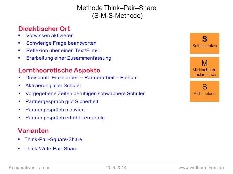 S M S Methode Think–Pair–Share (S-M-S-Methode) Didaktischer Ort