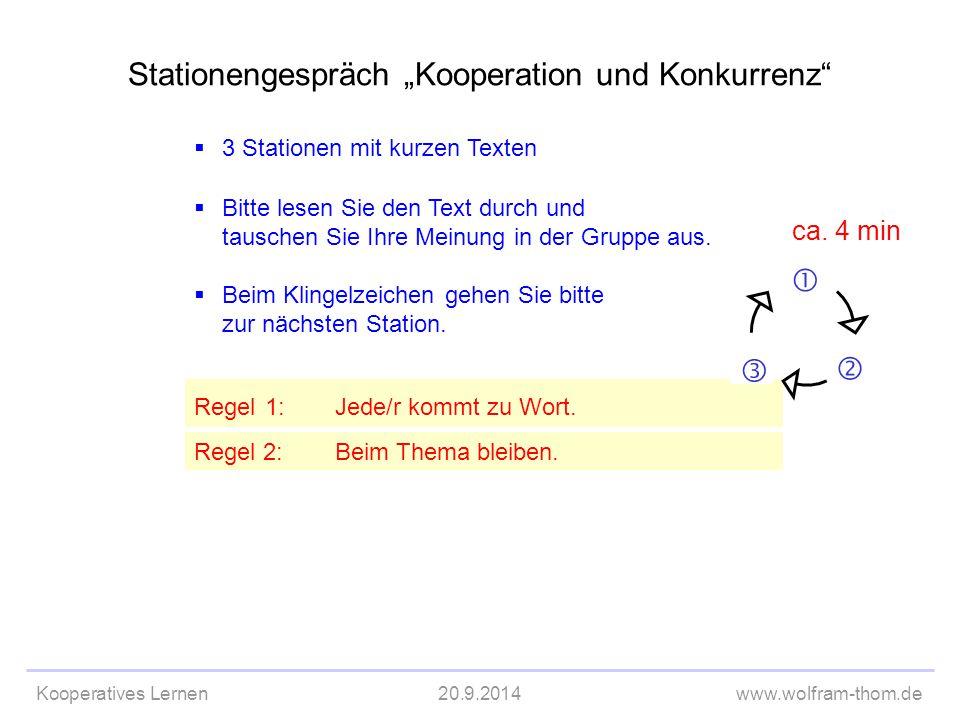"""Stationengespräch """"Kooperation und Konkurrenz"""