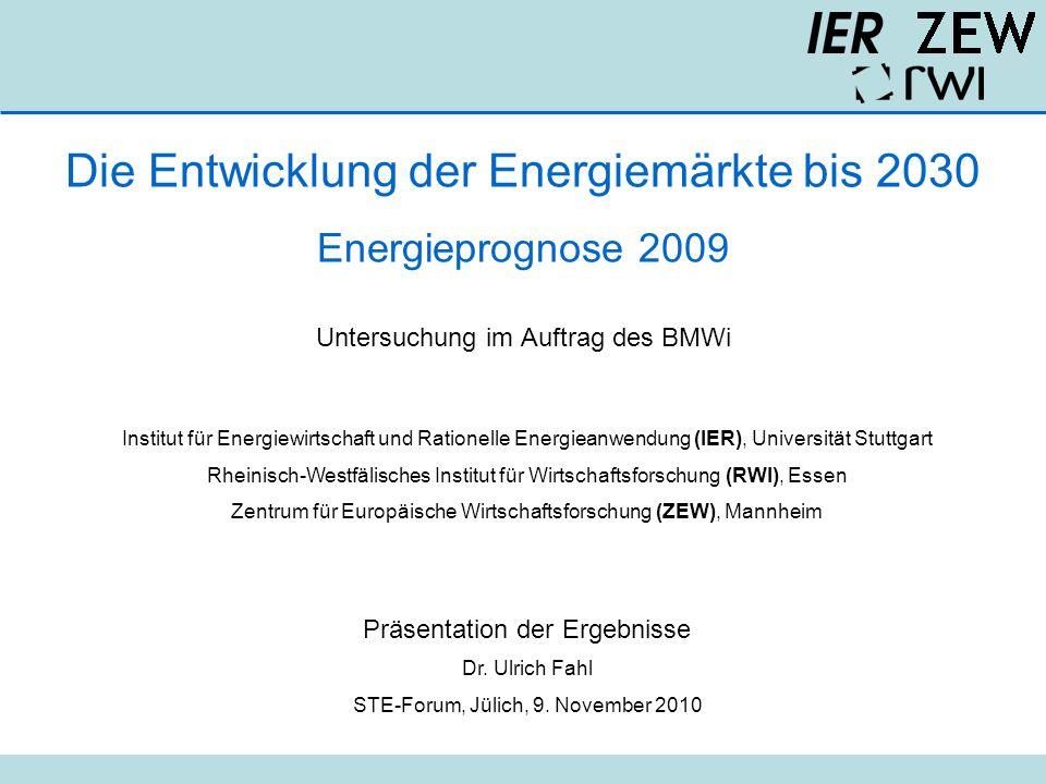 Die Entwicklung der Energiemärkte bis 2030 Energieprognose 2009 Untersuchung im Auftrag des BMWi