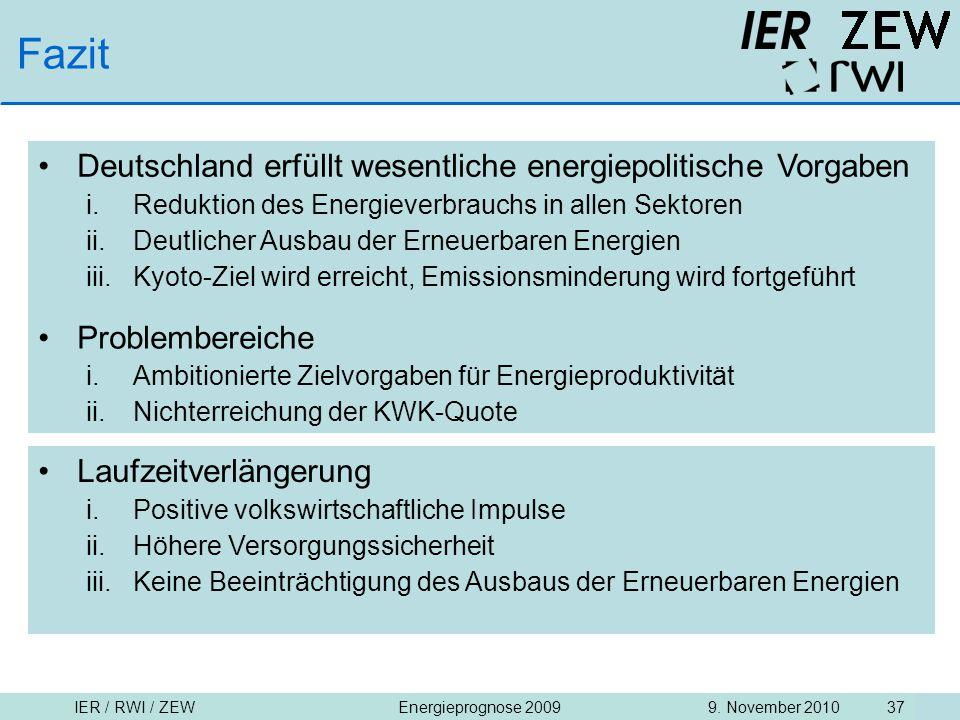Fazit Deutschland erfüllt wesentliche energiepolitische Vorgaben