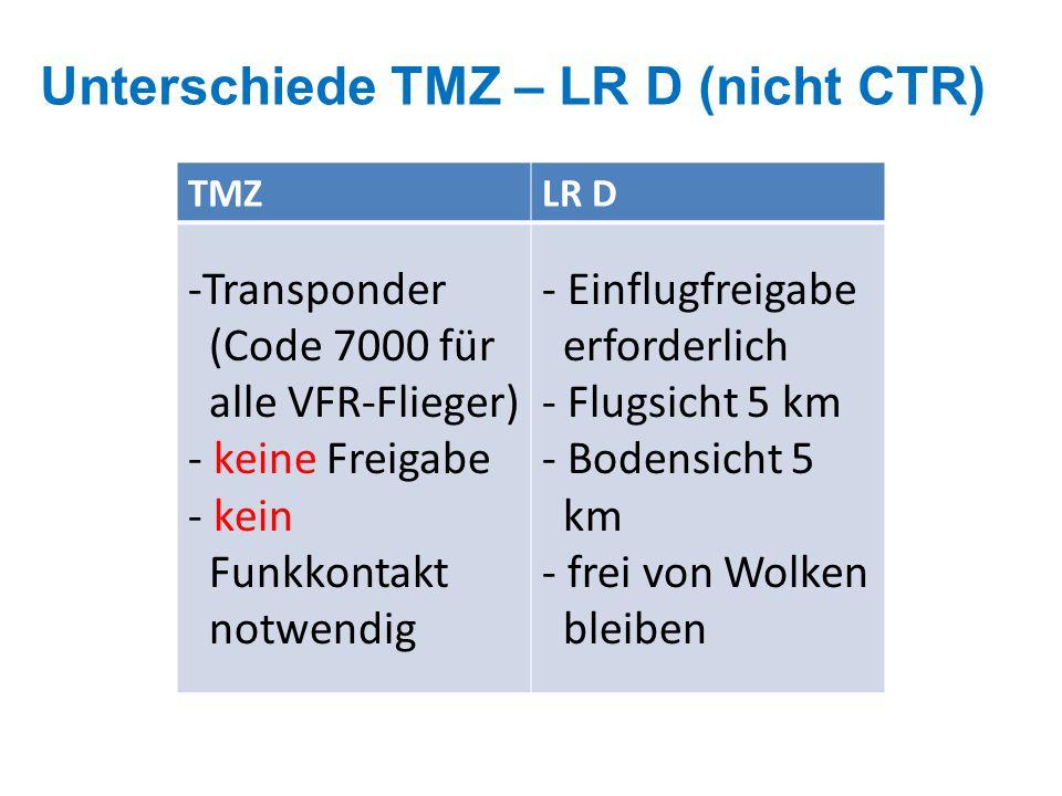 Unterschiede TMZ – LR D (nicht CTR)