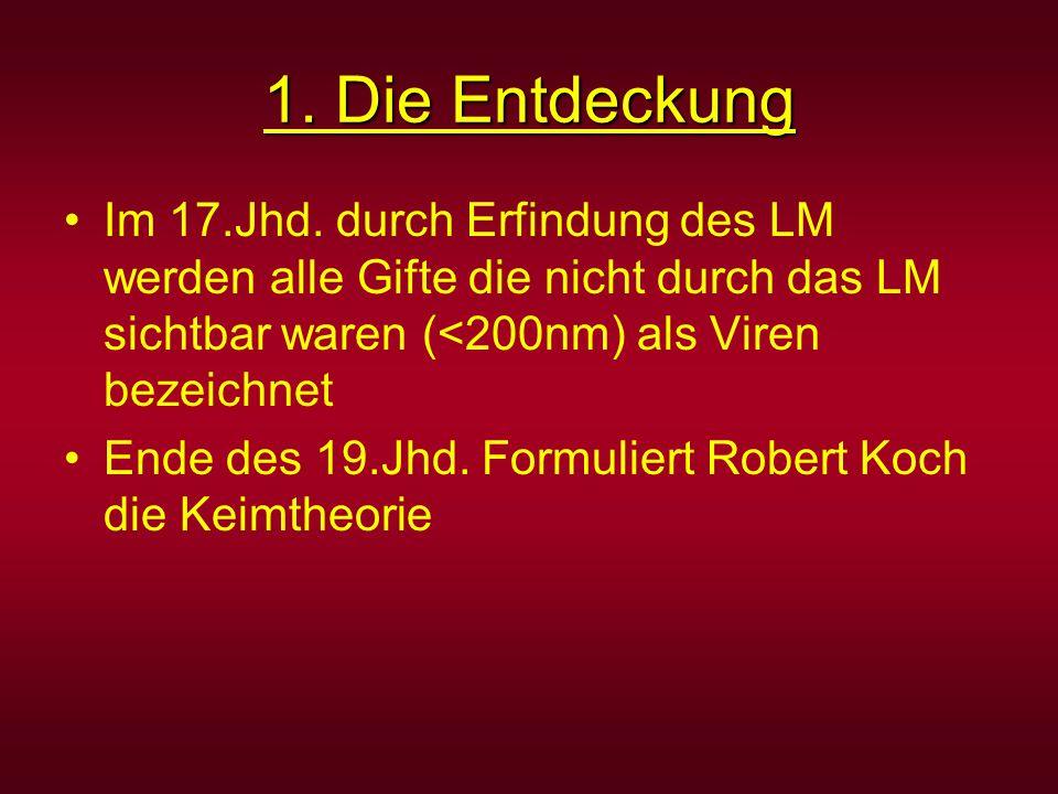 1. Die Entdeckung Im 17.Jhd. durch Erfindung des LM werden alle Gifte die nicht durch das LM sichtbar waren (<200nm) als Viren bezeichnet.