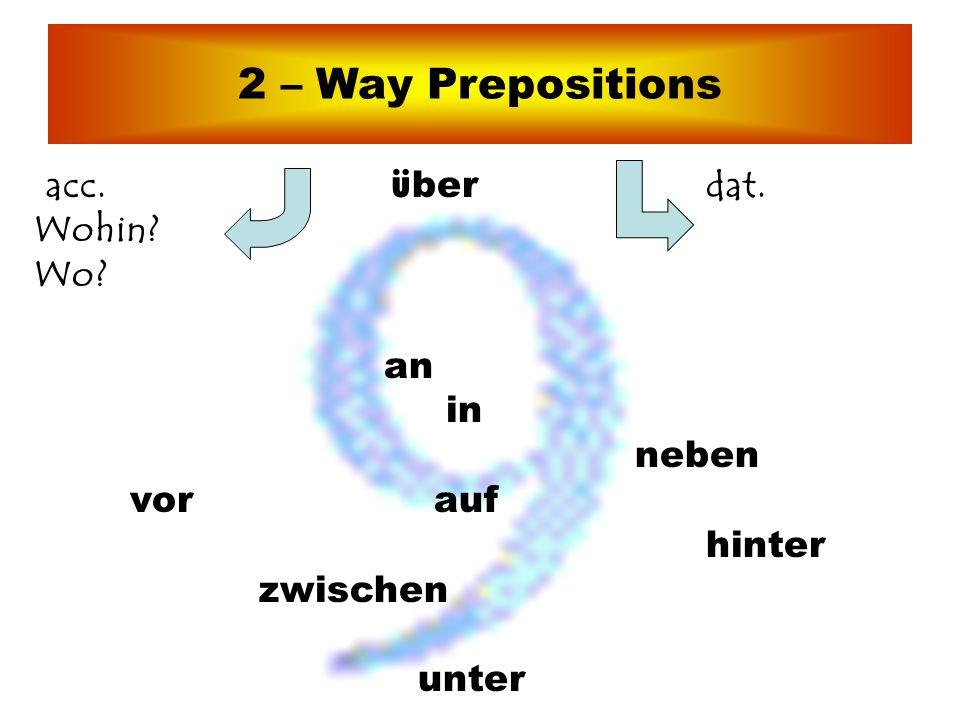 2 – Way Prepositions acc. über dat. Wohin Wo an in neben vor auf