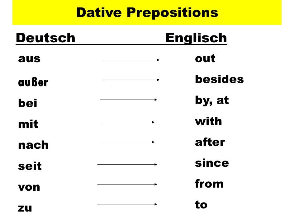 Dative Prepositions Deutsch Englisch außer aus bei mit nach seit von