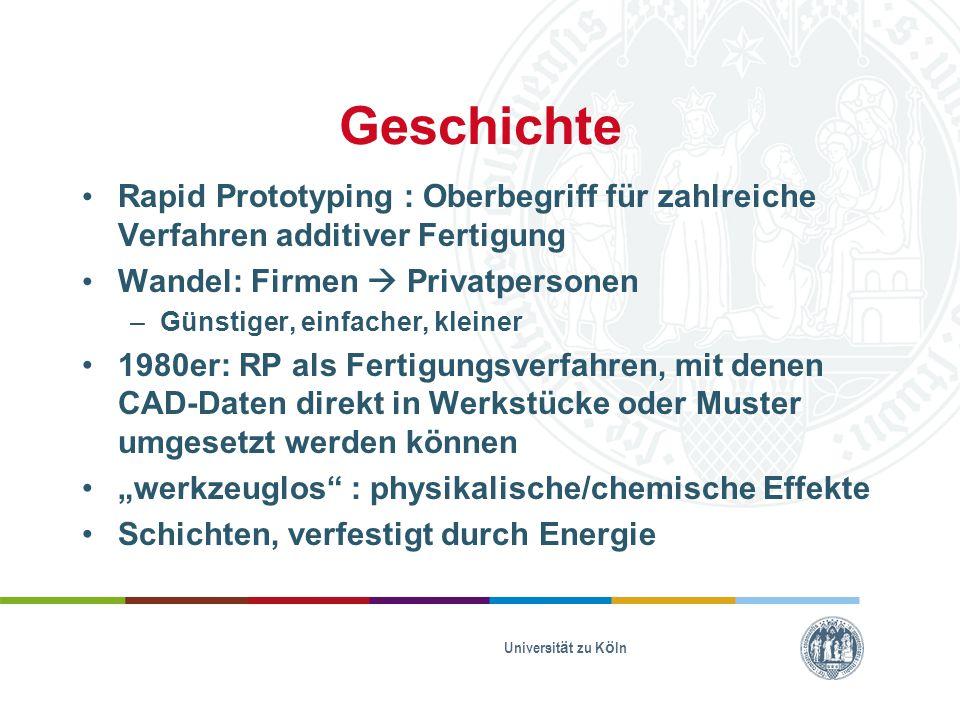 Geschichte Rapid Prototyping : Oberbegriff für zahlreiche Verfahren additiver Fertigung. Wandel: Firmen  Privatpersonen.
