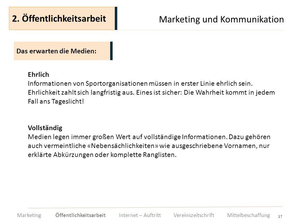 2. Öffentlichkeitsarbeit Marketing und Kommunikation