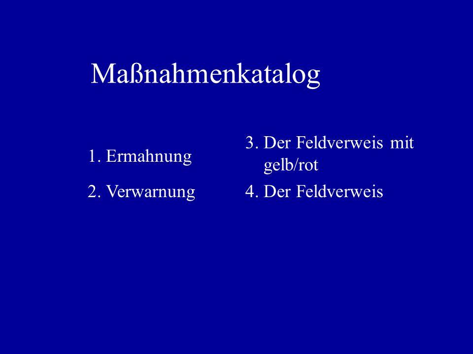 Maßnahmenkatalog 3. Der Feldverweis mit gelb/rot 1. Ermahnung