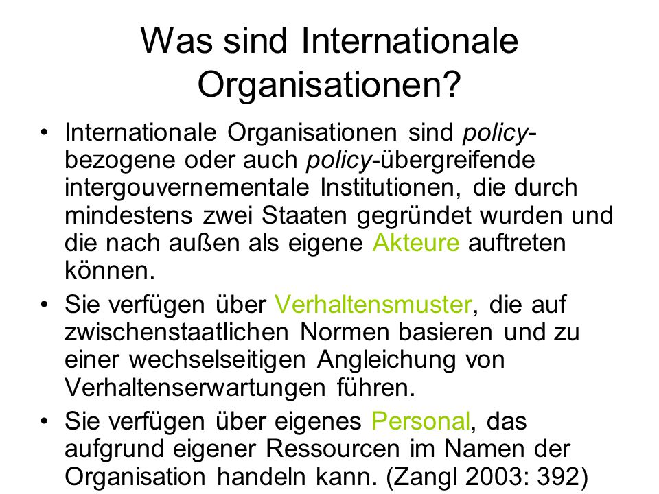 Was sind Internationale Organisationen