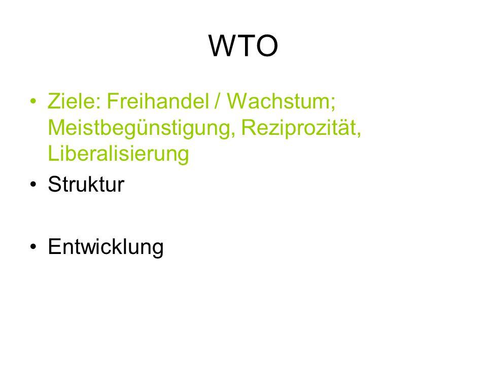 WTO Ziele: Freihandel / Wachstum; Meistbegünstigung, Reziprozität, Liberalisierung. Struktur. Entwicklung.