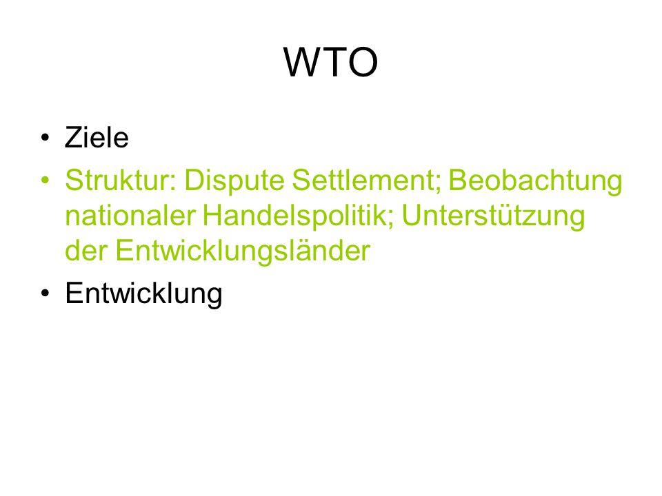 WTO Ziele. Struktur: Dispute Settlement; Beobachtung nationaler Handelspolitik; Unterstützung der Entwicklungsländer.