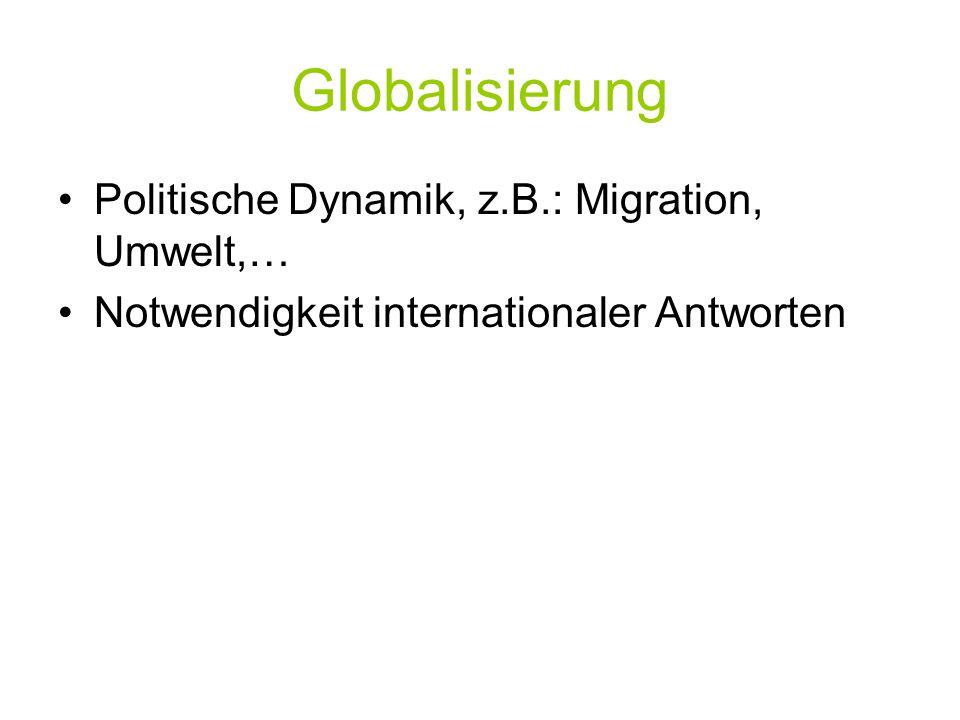 Globalisierung Politische Dynamik, z.B.: Migration, Umwelt,…