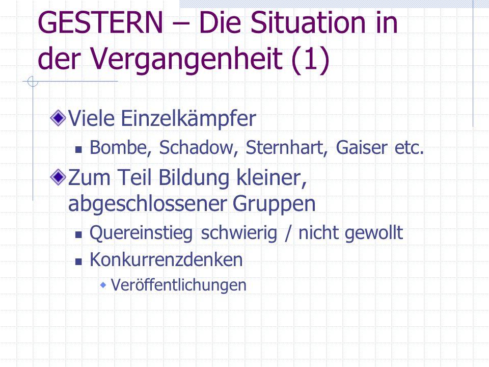 GESTERN – Die Situation in der Vergangenheit (1)
