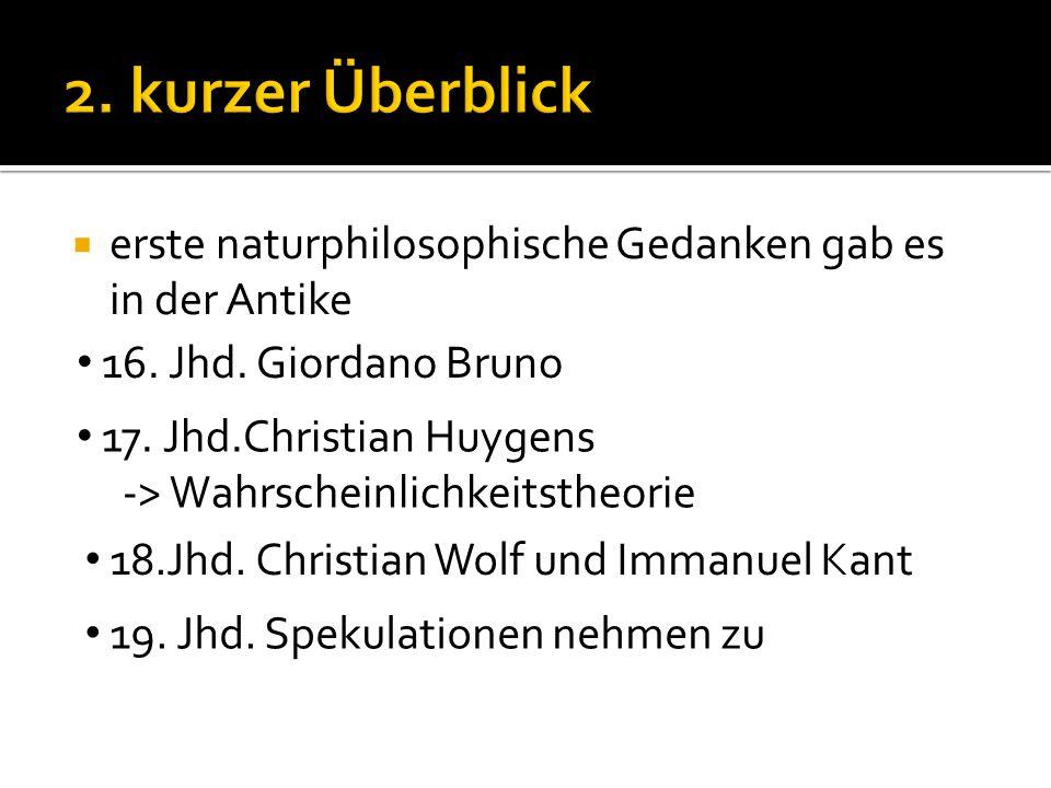 2. kurzer Überblick erste naturphilosophische Gedanken gab es in der Antike. 16. Jhd. Giordano Bruno.