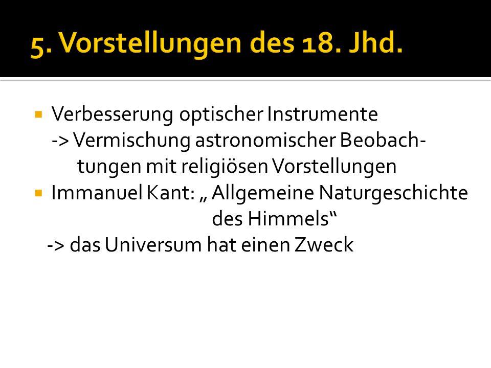 5. Vorstellungen des 18. Jhd. Verbesserung optischer Instrumente