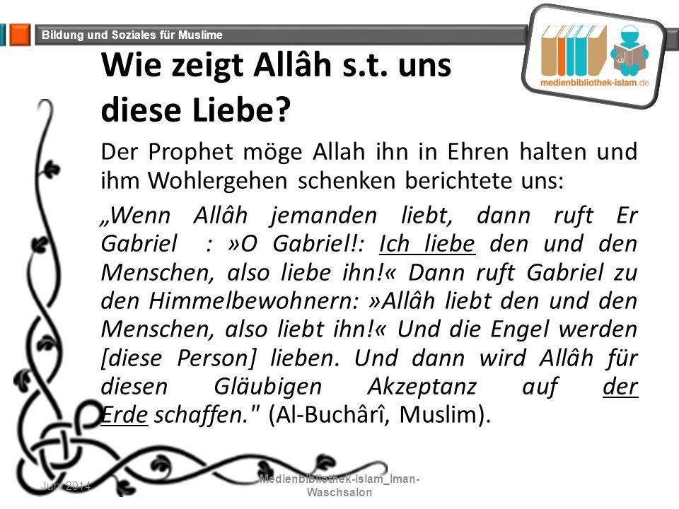 Wie zeigt Allâh s.t. uns diese Liebe