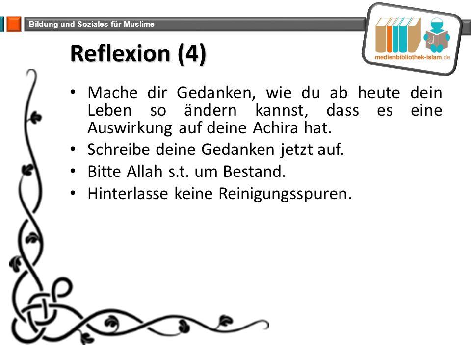 Reflexion (4) Mache dir Gedanken, wie du ab heute dein Leben so ändern kannst, dass es eine Auswirkung auf deine Achira hat.