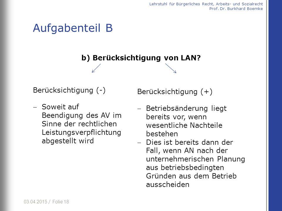 b) Berücksichtigung von LAN