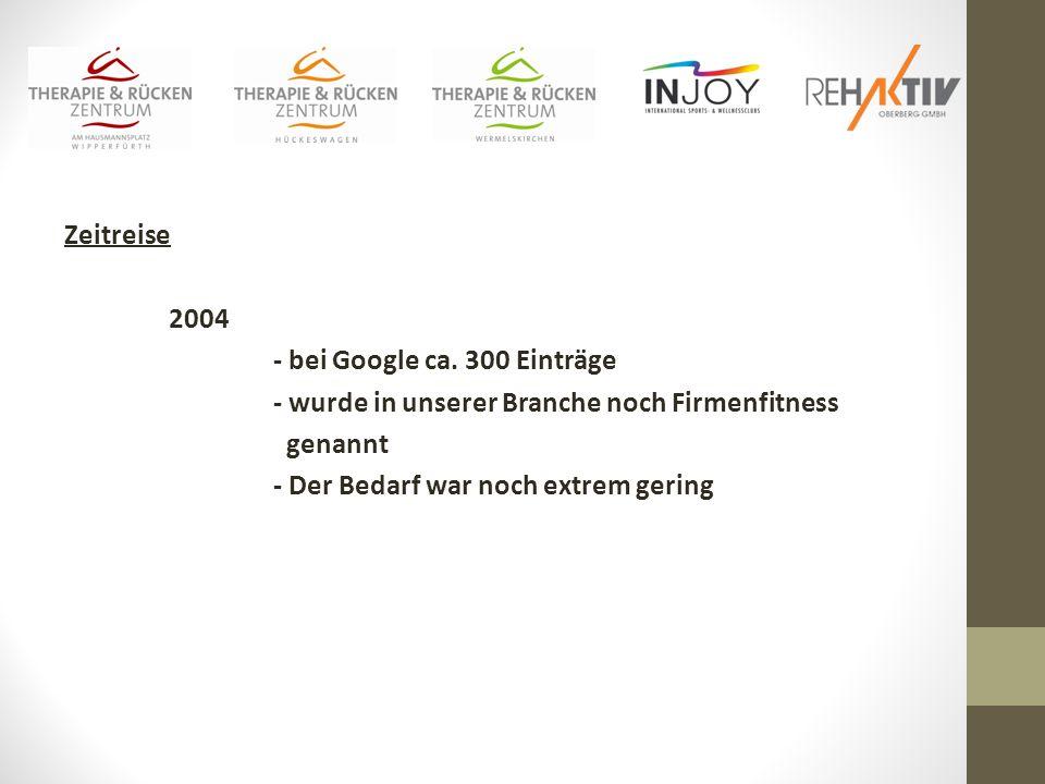 Zeitreise 2004. - bei Google ca. 300 Einträge. - wurde in unserer Branche noch Firmenfitness. genannt.