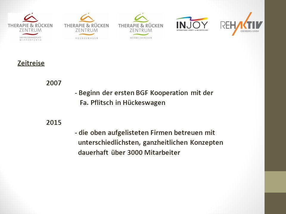 - Beginn der ersten BGF Kooperation mit der