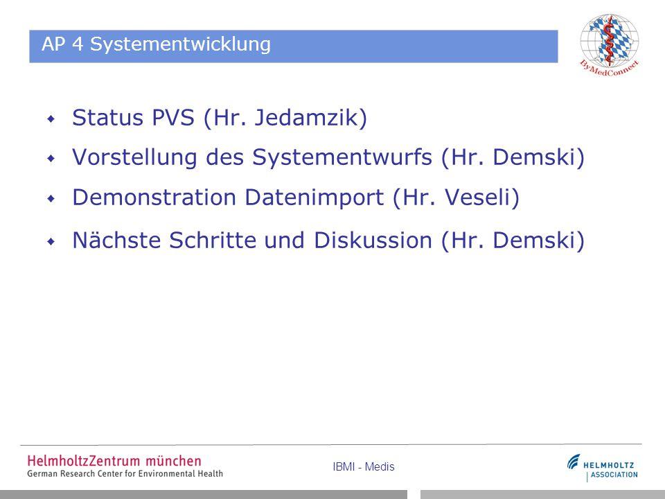 Status PVS (Hr. Jedamzik) Vorstellung des Systementwurfs (Hr. Demski)