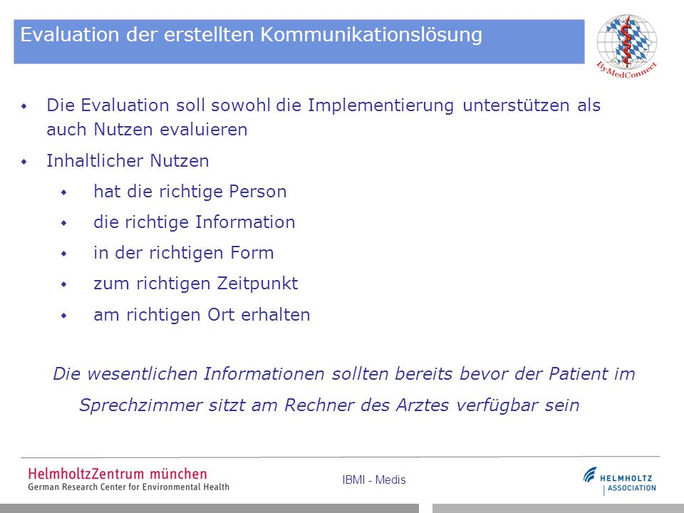 Evaluation der erstellten Kommunikationslösung