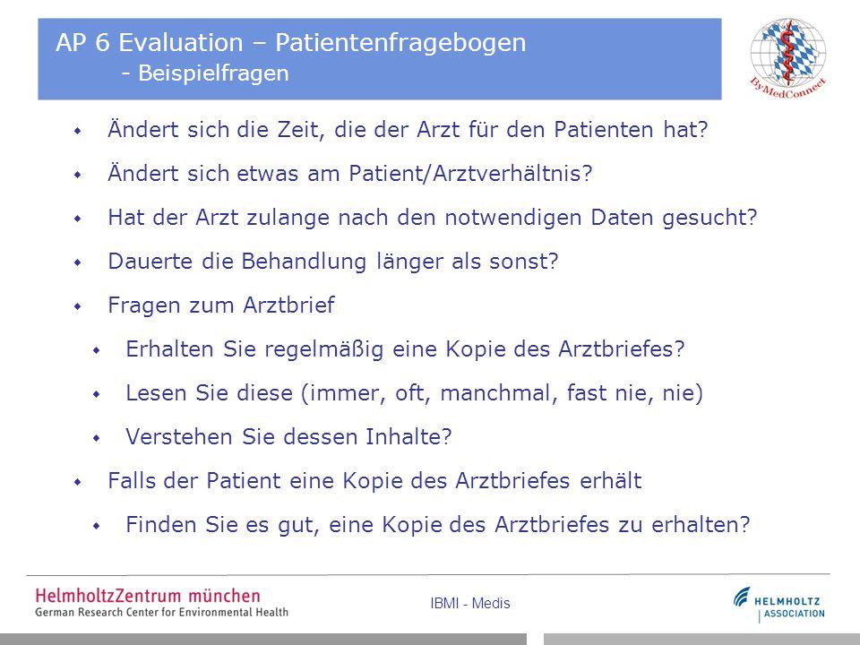 AP 6 Evaluation – Patientenfragebogen - Beispielfragen