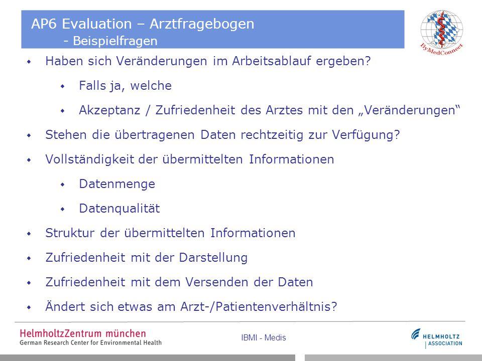 AP6 Evaluation – Arztfragebogen - Beispielfragen