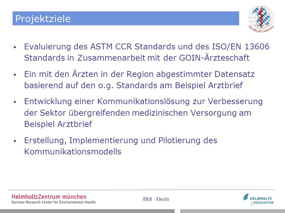 Projektziele Evaluierung des ASTM CCR Standards und des ISO/EN 13606 Standards in Zusammenarbeit mit der GOIN-Ärzteschaft.