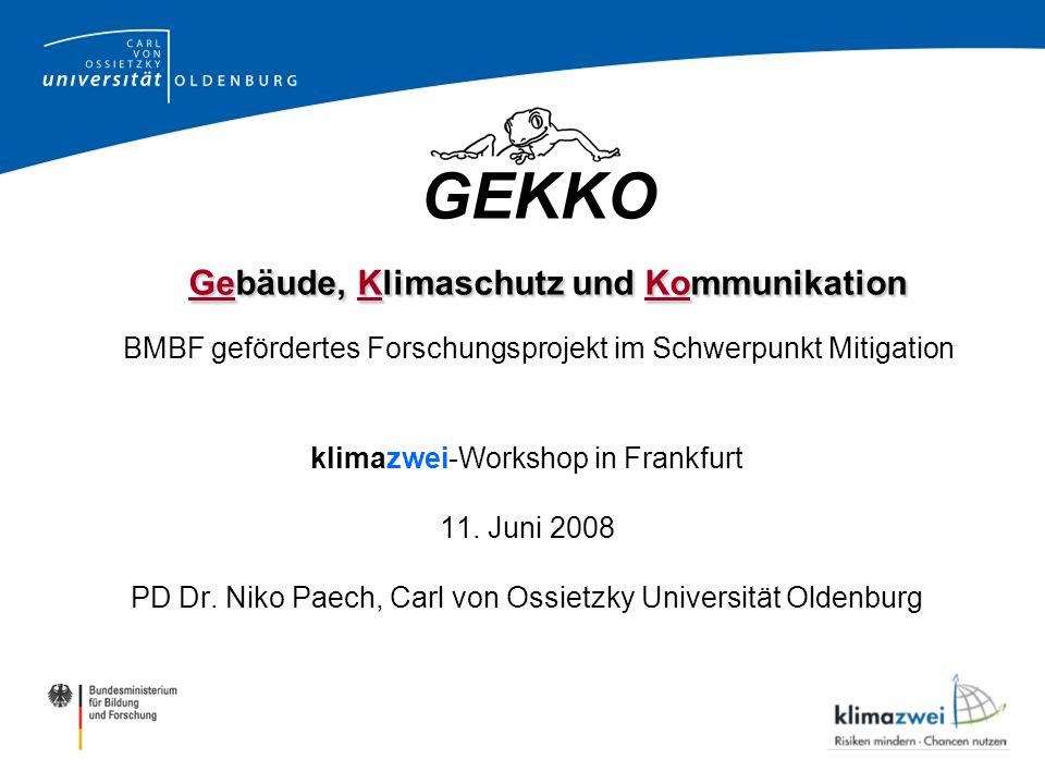 GEKKO Gebäude, Klimaschutz und Kommunikation BMBF gefördertes Forschungsprojekt im Schwerpunkt Mitigation