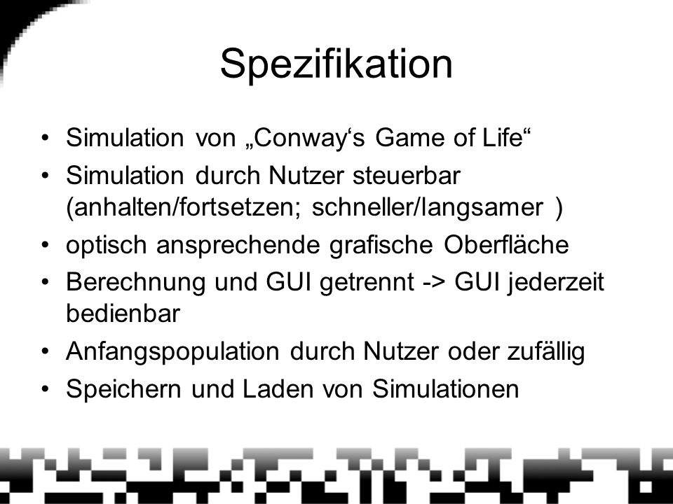 "Spezifikation Simulation von ""Conway's Game of Life"