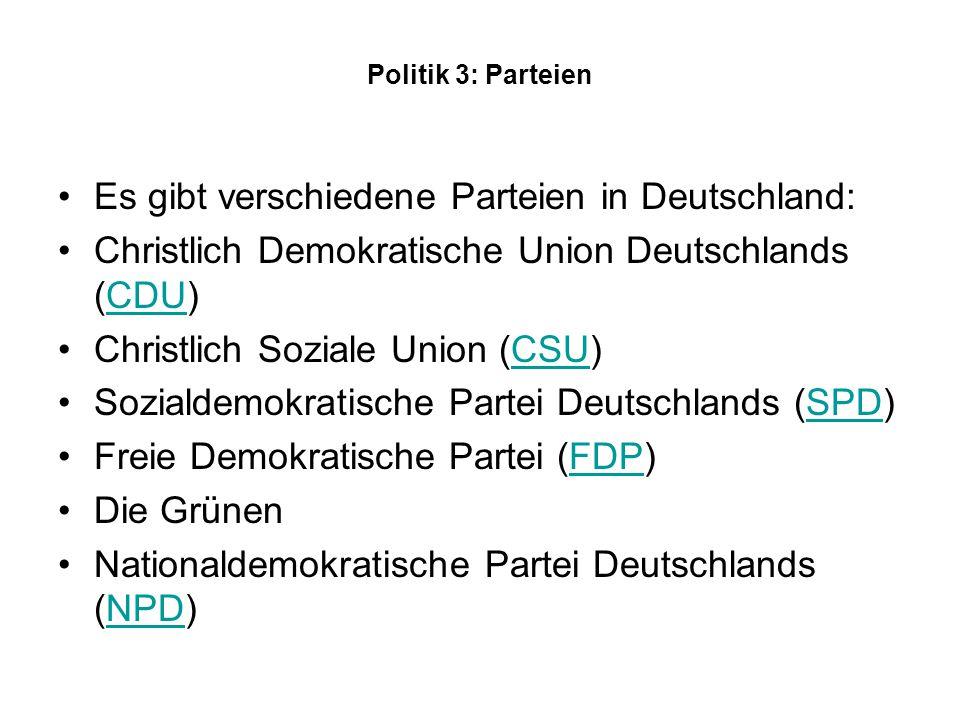 Es gibt verschiedene Parteien in Deutschland: