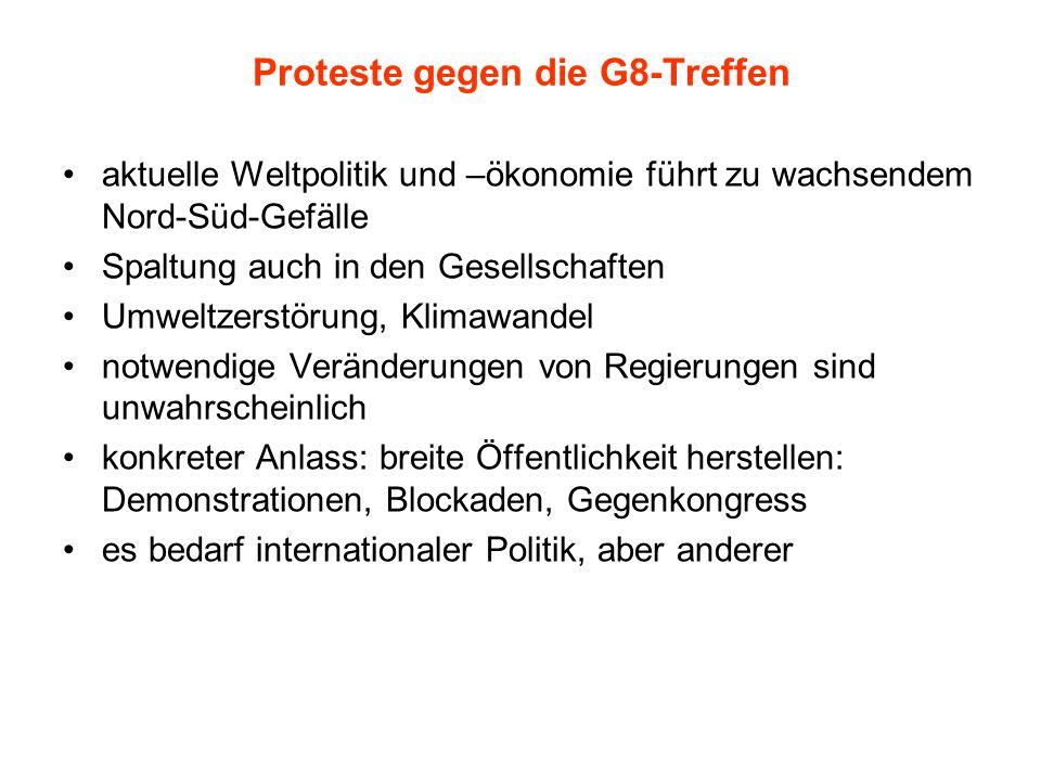 Proteste gegen die G8-Treffen