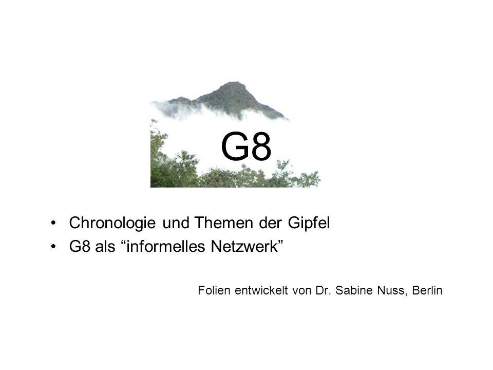 G8 Chronologie und Themen der Gipfel G8 als informelles Netzwerk