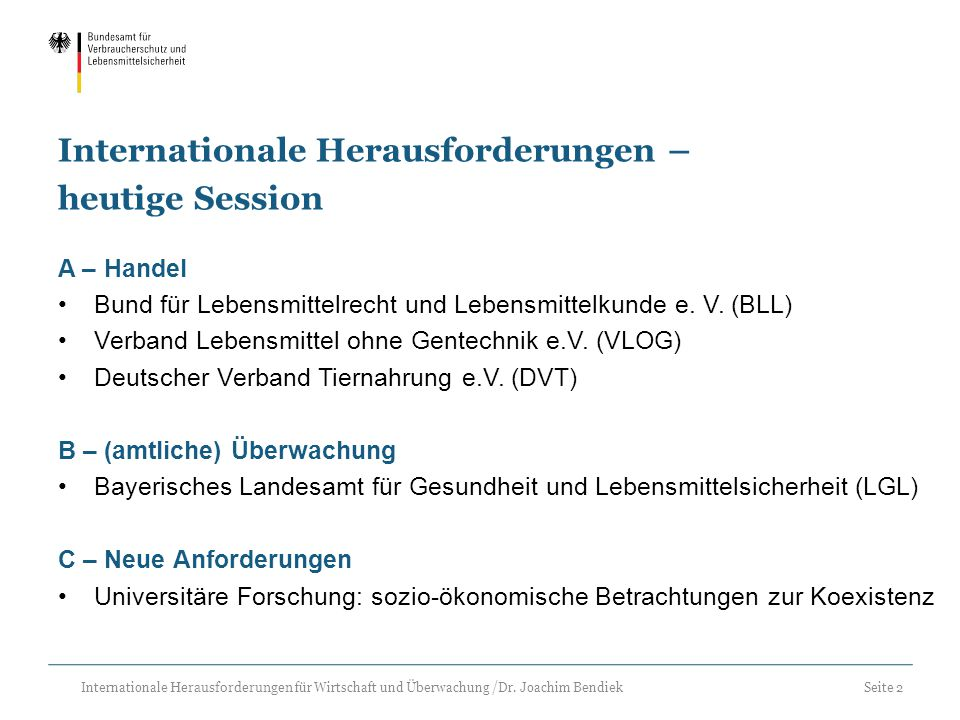 Internationale Herausforderungen – heutige Session