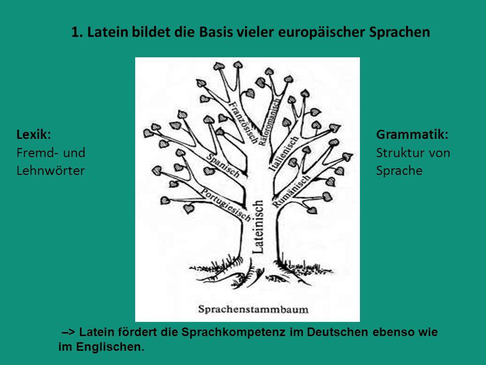 1. Latein bildet die Basis vieler europäischer Sprachen