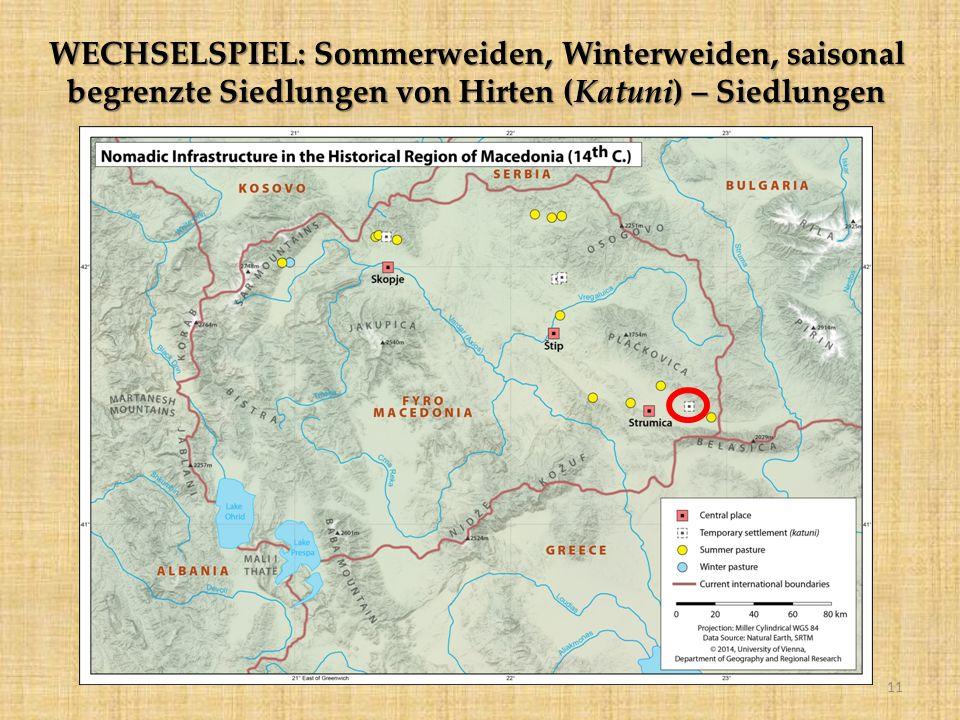 WECHSELSPIEL: Sommerweiden, Winterweiden, saisonal begrenzte Siedlungen von Hirten (Katuni) – Siedlungen