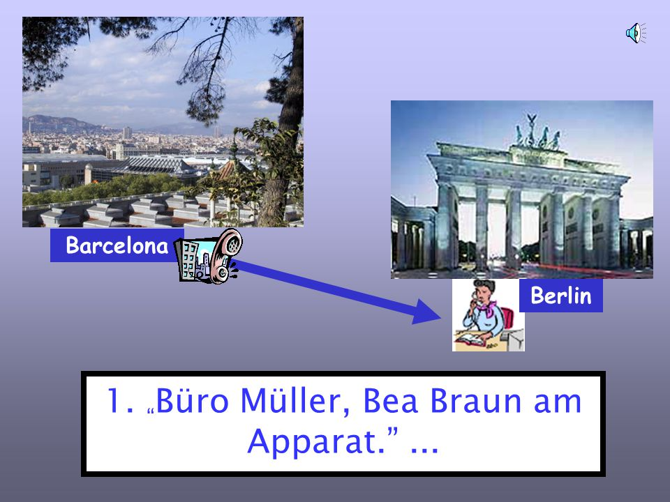 1. Büro Müller, Bea Braun am Apparat. ...